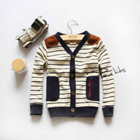 Wholesale Brand New Fashion Spring Korean children Clothing British style boys and girls V neck stripe knitted cardigan