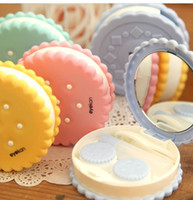 Wholesale CM Sweet Cookies Series Contact Lenses Box Mirror CaseContact lens Case Promotional Gift