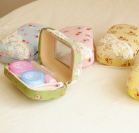 Wholesale Cute Sweet Contact Lace Flower Lens Case Lenses Contact Lens Box Case Cookie Glasses Box Gift Girl