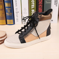 name brand shoes cheap - New men and women cheap name brand high top sneakers designer mix color leather with double zip luxury causal sports shoes