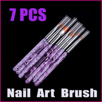 Gel Nail Brushes 3 Pcs Plastic 5 sets lot 7Pcs Purple Beauty Nail Tools UV Gel Acrylic Nail Art Builder Brush Dotting Pen Design, Wholesale
