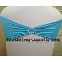 Yes Twill Home,Wedding,Banquet,Other 100 Premium TIFFANY BLUE Spandex polyester Chair Band with Round Buckle design for Wedding Chair COVER SASH Free shipping