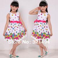 TuTu Summer A-Line 2014 Kids Girls Dress cute floral color sleeveless princess dress circle Korean Fashion Blue children's clothing New