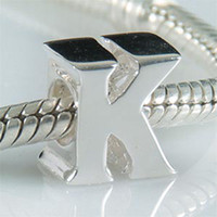 European Beads alphabet beads bracelets - Fashion Alphabet Charm Beads in Sterling Silver Letter K Bead Compatible With Pandora Style Bracelet Jewelry
