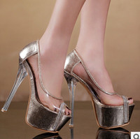 Women Pumps Summer Hot! 2014 Transparent Dress Shoes Sexy Gold Silver Peep Toe Platform 16cm High Heels Shoes Prom Evening Party Shoes d102a78