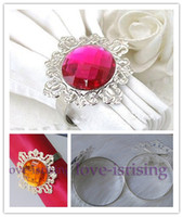 Wholesale 100 High Quality Fuchsia Silver Plated Vintage Style Napkin Rings Wedding Bridal Shower Napkin holder