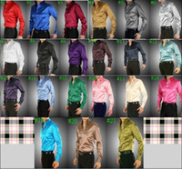 21 colors  Silk Polo Hot Sale 21 Colors 6 Sizes(S M L XL XXL XXXL) Elastic Silk like Satin Men Wedding Prom Groom Shirts Wear Bridegroom Shirt J190