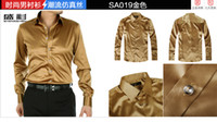21 colors  Silk Polo New Arrival 21 Colors 6 Sizes(S M L XL XXL XXXL) Elastic Silk like Satin Men Wedding Prom Groom Shirts Wear Bridegroom Shirt J199
