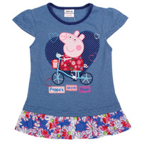 Girl Summer Long Nova Factory Outlet Store Tongxingdg Latest 18m-6y baby summer clothes cute girl Peppa Pig embroidery cap sleeve long stripe T-shirts