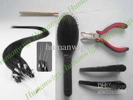 Loop Micro ring Hair Extension kits(200pcs loop hair extension+pliers+needle+brush+clips)