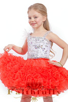 Reference Images Girl Beads Toddlers 2014 Jacinth Beaded Spaghetti Straps Feather Tutu Girl's Pageant Dresses Mini Princess Gowns Tiers Organza Ruffles Lace Up 1201