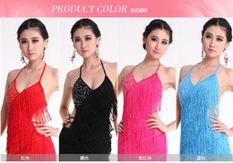 Wholesale Hot Factory New Adult Latin Dance Dress V neck Competition Fringed Halter Latin Show Skirt Stage Wear A0160