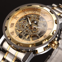 Wholesale Mens Classic Transparent Steampunk Skeleton Mechanical Man Stainless Steel Watch