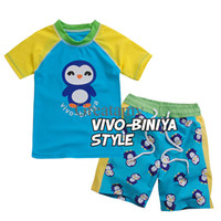 Wholesale The new baby boy cartoon penguin bathing suit swimming wear shirt swimming short cap boys sun proof swimming suit beach wear cloth suit