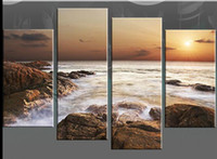 Wholesale Rocky sea at sunset canvas wall art pictures pc No Frames