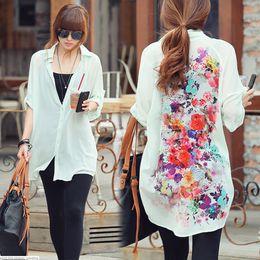 Wholesale High quality fashion women Thin casual loose long sleeve chiffon shirt long sleeve women s shirt Back floral printing top Chiffon shirt tops