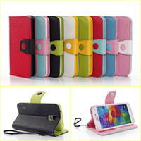 Wholesale Contrast Color Smart Phone Case Covers For Samsung Galaxy S5 S4 S3 Note Mega Shock Proof Wallet Cases Cover With Card Slot