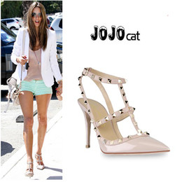 woman party fashion rivets girls sexy pointed toe high heels shoes buckle platform pumps wedding shoes