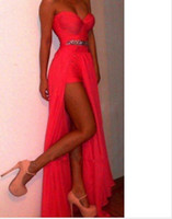 Model Pictures Sweetheart Chiffon Free Shipping new fashion 2014 The Most Popular Sweetheart Neckline Rhinestone Waist HIgh Slit Long Chiffon Mini Skirt Coral Prom Dress