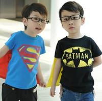 Wholesale Boys Short Sleeve T shirt Children Superman Batman Tops Kids Summer Fashion Garment
