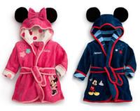 Robes Unisex Cotton Children Clothes 2014 Children Boys Girls Pajamas Robe New Kids Micky Minnie Mouse Bathrobes Baby Cartoon Home Wear.