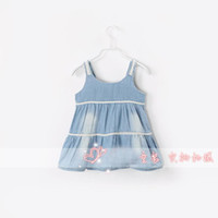 TuTu Summer Pleated Hot selling European&American Simple kids summer dress baby girl sling sleeveless vest denim pleated dress braces skirt slip dress