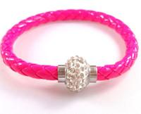 Wholesale HOT Sale PU Leather Magnetic Clasp Shamballa Bracelet Bracelet Bangle Wristband