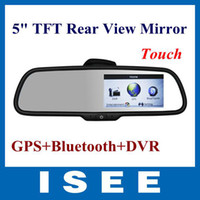 "Best Wholesale - car New 5"" TFT Mirror Monitor+Rear View Camera Two-way DVR Video Recorder GPS Free Shipping"