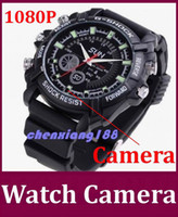 8G   Really 8GB 1920*1080P Waterproof watch camera W1000 with IR Night Vision hidden pinhole camera spy watch video recoder 10pcs lot Free DHL