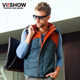 Wholesale viishow Vest men winter brand sport outdoor casual yellow green Sleeveless mens cotton pocket desinger outwear