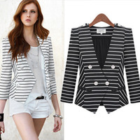 Women Suit Casual Classic Stripe Double Breasted Blazers V Neck Long Sleeve Slim Business Suit Spring Fashion Women Outwear LJD0325