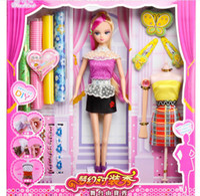 Wholesale EMS Fashion Girls DIY Design Cutting Cloth Dolls Set Princess Barbie Dress Cloth Hair Band Butterfly Grid Lace Beauty Doll sets D2301