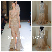 Reference Images Scalloped Lace 2014 New Arrival Haute Couture Elie Saab Evening Dresses Gold Lace Beads and Sequins See Through Prom Dresses ES00516