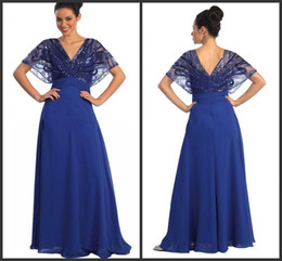 2014 fashion new design spring collection royal blue chiffon mother of the bride dresses v-neck short sleeve floor length custom made cheap