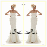 Trumpet/Mermaid Reference Images Sweetheart WOW! Hot Sexy Elegant Mermaid Sweetheart Floor Length Court Train Lace 2014 Wedding Gowns Woman Prom Dresses Pearls Applique Bridal Gowns