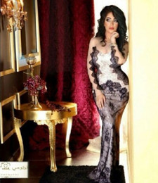 Wholesale 2014 Sexy Mermaid Lace Celebrity Evening Dresses with Sheer Lace Long Sleeves Inspired by Myriam Fares Dhyz