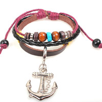 Beaded, Strands Bohemia Unisex Cow Leather Bracelet Hot Sale Wholesale Hanmade Fashion Jewelry Summer Pirates Of The Caribbean Bangles 2014 Free Shipping