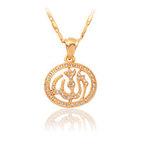 Wholesale New Islamic Allah Pendant Charms Choker Necklace Religious Muslim Jewelry Gift For Women K Gold Plated Rhinestone MGC P211