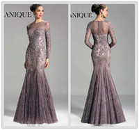 Wholesale 2014 Glamorous Exquisite Appliques Lace Mermaid Trumpet Illusion Sheer Bateau Neckline Long Sleeves Coverd Buttons Prom Gown Evening Dresses