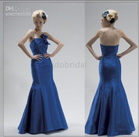 name brand evening dress - Name brand satin strapless blue mermaid ladies evening western dress for veiled