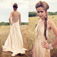 Wholesale sexy style new sheer backless champagne halter v neck wedding dresses beaded garden charming bridal evening gowns