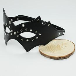 Wholesale Sexy Black leather Bondage Blindfold with stud Bondage gear Fetish gear for women BLD14003