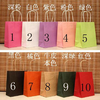 Paper   Wholesale - - - DhlFree Shipping Paper Handled Kraft paper Bags packing bag, 50pcs lot 18x15x8cm