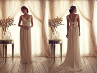 Sheath/Column band collection - Anna Campbell Gossamer Bridal Collection Vintage V Neck with Cap Sleeves Lace Wedding Dresses Chiffon Court Train Bow Band Backless