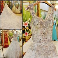 Lien spécial 2016 Splendide robe de bal robe de mariage Spaghetti dentelle organza robe de mariée Appliques perles robe de mariée strass