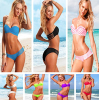 Wholesale Hot Slae Beach Sexy Swimwear Strappy Bandeau Top Bikini Set Sexy Swimsuit High Fashion Bathing Suit