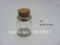Glass   Wholesale - - - Dhlfree shipping 50pcs lot 4ml glass vial, Glass Bottles,small bottles with corks,storage bottles ,glass jars