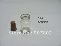 Glass   Wholesale - - - Dhlfree shipping 500pcs lot 0.5ml glass vials, Glass Bottles,mini glass bottle cork for decorative