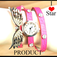 Wholesale New arrival angel wings multicolor choice gold plated rhinestone woman bracelet watches women dress watch reglion
