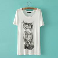 Women Cotton Round 2014 NWT Summer Women T-shirts Stylish Cute cartoon Cat Printing White O-neck Short Sleeve Loose Tee